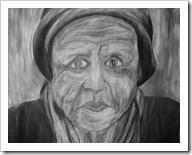 Pobre anciana, abuela en pobreza