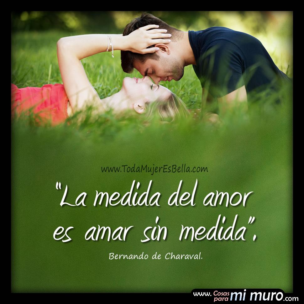 La medida del amor es amar sin medida. -Bernando de Charaval.